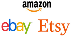 Amazon, Ebay, and Etsy logos