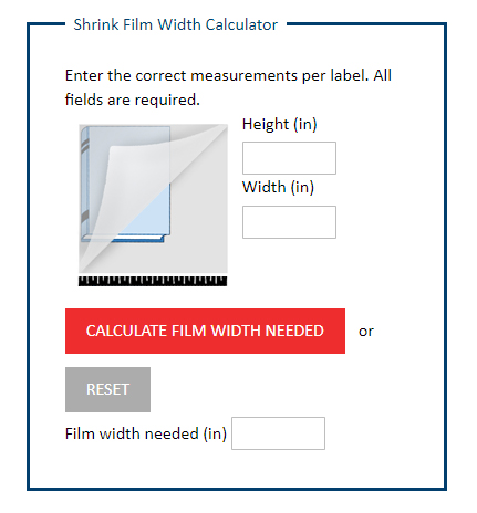 Shrink Wrap Calculator